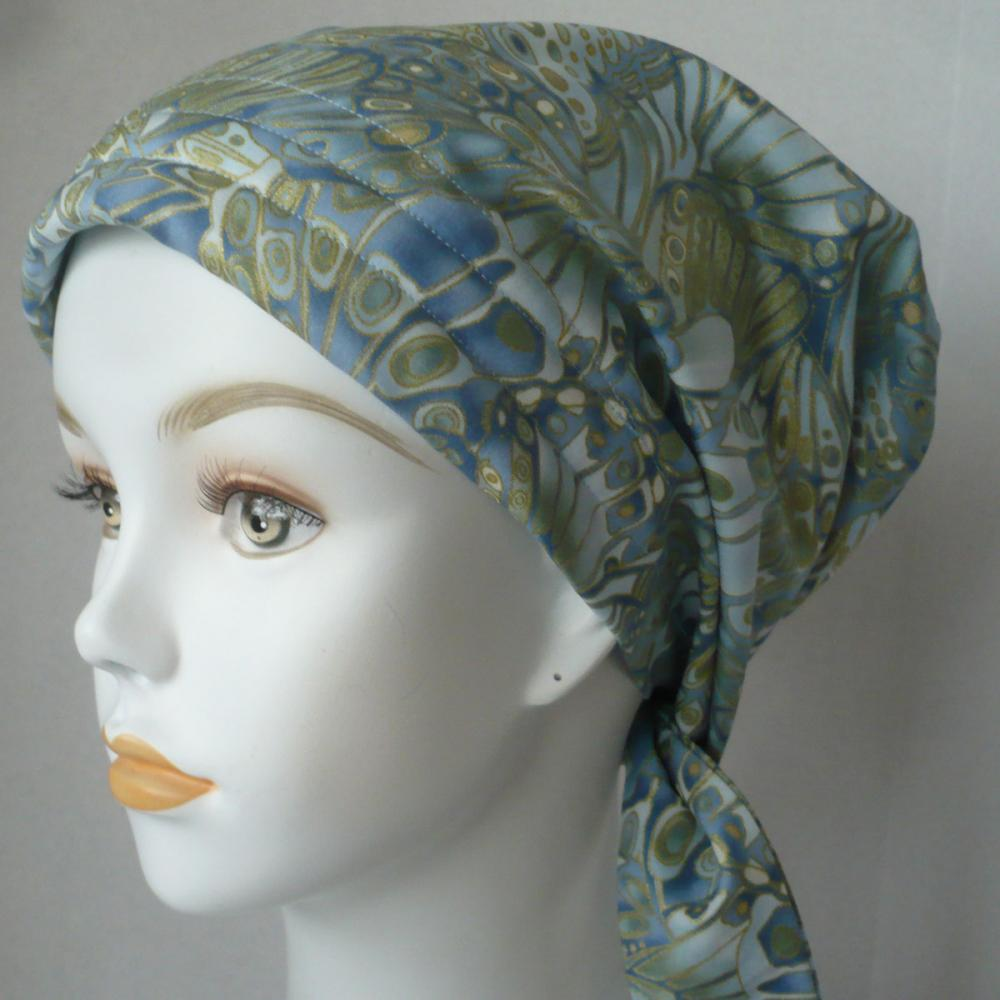 beautiful blue butterfly 100 cotton cancer chemo hat