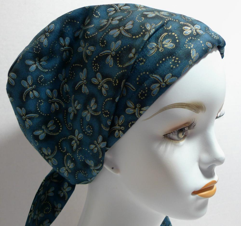 teal dragonfly alopecia cancer chemo hairloss scarf