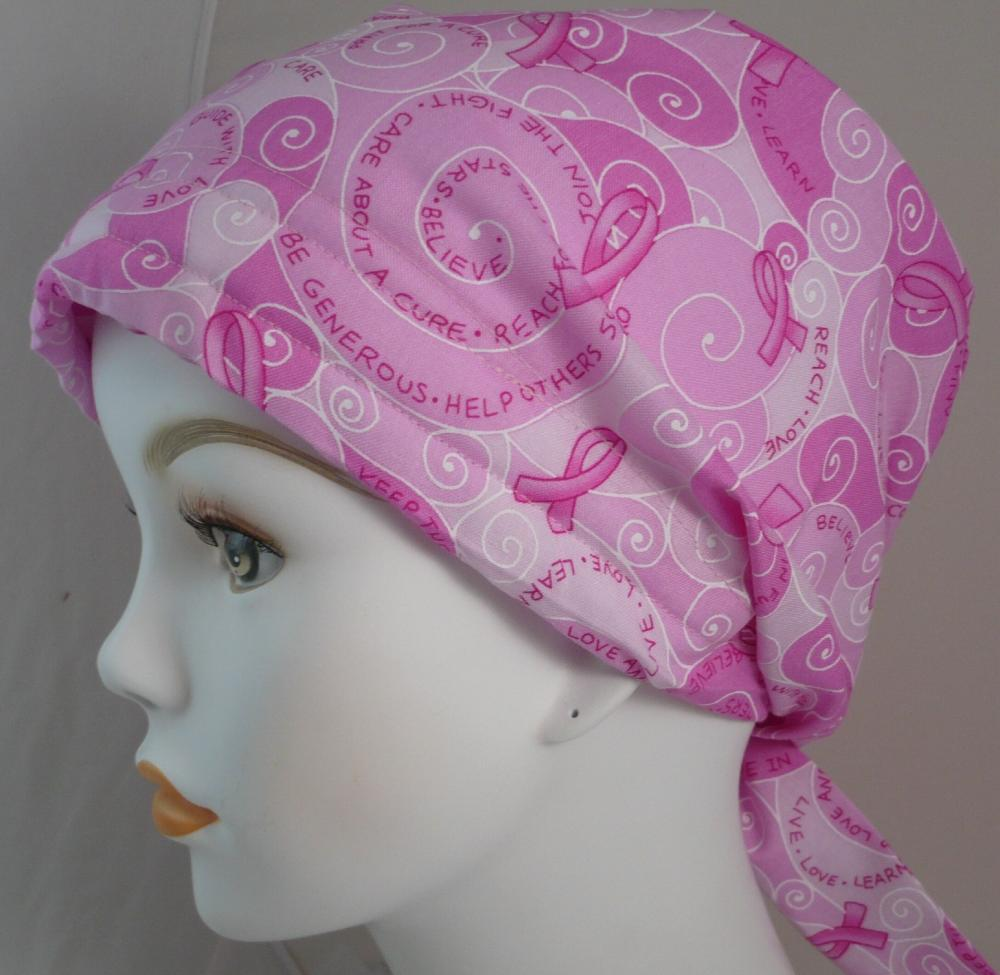 pink ribbon breast cancer awareness hat chemo cap scarf