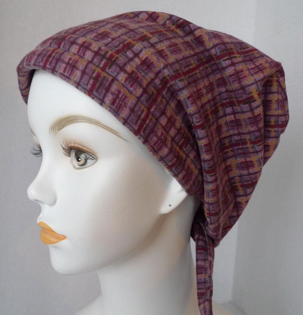 plaid flannel chemo cancer hat alopecia hairloss 100